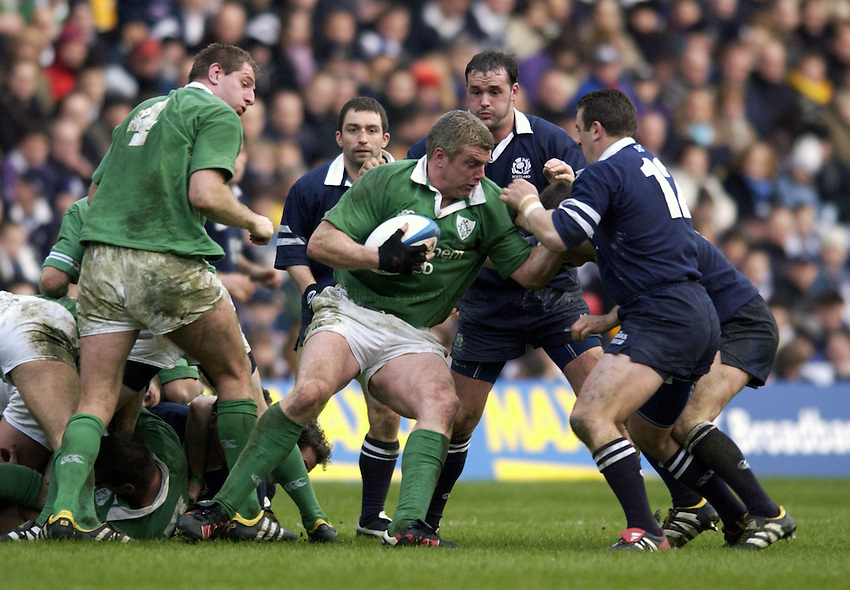 Photo. Jed Wee.Scotland v Ireland, Rugby Union Six Nations Championship, Murrayfield, Edinburgh. 16/02/2003..Ireland's Victor Costello.
