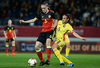 20171020 - LEUVEN , BELGIUM : Belgian Tine De Caigny (left) pictured with Romanian Teodora Meluta (r) during the female soccer game between the Belgian Red Flames and Romania , the second game in the qualificaton for the World Championship qualification round in group 6 for France 2019, Friday 20 th October 2017 at OHL Stadion Den Dreef in Leuven , Belgium. PHOTO SPORTPIX.BE | DAVID CATRY