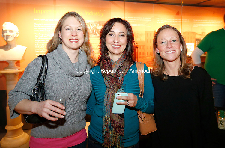 """Waterbury, CT- 12 February 2015-021215CM04- Social moments-- From left to right, Brandi Fitzgerald, Angie Matthis and Missy Martin, all with the Greater Waterbury YMCA, pose for a photograph on Thursday February 12, 2015 during """"Febtoberfest"""", which celebrated Connecticut breweries  at the Mattatuck Museum in Waterbury. The event featured local breweries and beer paired with food, music and regional history.  Christopher Massa Republican-American"""