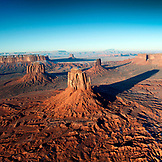 USA, Arizona, Utah, aerial view of Monument Valley, Navajo Tribal Park