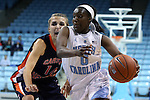 05 November 2014: North Carolina's Jamie Cherry (0) and Carson-Newman's Kaitlyn Cupples (14). The University of North Carolina Tar Heels hosted the Carson-Newman University Eagles at Carmichael Arena in Chapel Hill, North Carolina in an NCAA Women's Basketball exhibition game. UNC won the game 88-27.