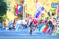 Picture by Simon Wilkinson/SWpix.com - 28/09/2018 - Cycling 2018 Road Cycling World Championships Innsbruck-Tirol, Austria - Mens U23 Road Race - Marc Hirschi of Switzerland celebrates.