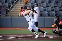 West Virginia Black Bears Jared Triolo (23) bats during a NY-Penn League game against the Batavia Muckdogs on August 29, 2019 at Monongalia County Ballpark in Morgantown, New York.  West Virginia defeated Batavia 5-4 in ten innings.  (Mike Janes/Four Seam Images)