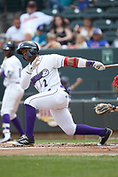Yeyson Yrizarri (2) of the Winston-Salem Dash follows through on his swing against the Salem Red Sox at BB&T Ballpark on April 22, 2018 in Winston-Salem, North Carolina.  The Red Sox defeated the Dash 6-4 in 10 innings.  (Brian Westerholt/Four Seam Images)