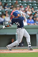 Third baseman Colton Welker (24) of the Asheville Tourists in a game against the Greenville Drive on Tuesday, May 2, 2017, at Fluor Field at the West End in Greenville, South Carolina. Asheville won, 7-1. (Tom Priddy/Four Seam Images)