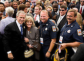 United States President George W. Bush greets firemen after the dedication of the September 11th Memorial at the Pentagon on the 7th anniversary of the September 11, 2001 attacks on New York and Washington in Washington, DC, Thursday, September 11, 2008.  <br /> Credit: Joshua Roberts / Pool via CNP