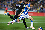 Alexander Szymanowski of Club Deportivo Leganes competes for the ball with Sergio Ramos of Real Madrid during the match of  La Liga between Club Deportivo Leganes and Real Madrid at Butarque Stadium  in Leganes, Spain. April 05, 2017. (ALTERPHOTOS / Rodrigo Jimenez)