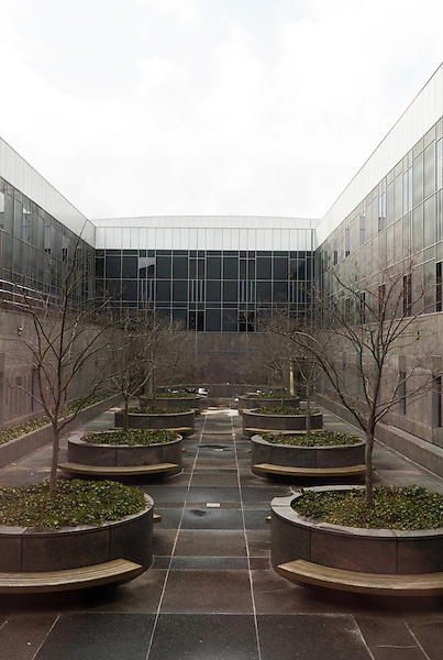February 23, 2015. Durham, North Carolina.<br />  One of the courtyards of the Duke University School of Law.<br />  The Duke University School of Law is considered one of the best law schools in the country.