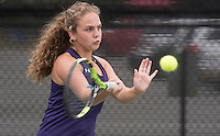 NWA Democrat-Gazette/J.T. WAMPLER Fayetteville High School's Cam Cupelli competes Wednesday Oct. 5, 2016 at the 7A-West Tennis Tournament in Bentonville.