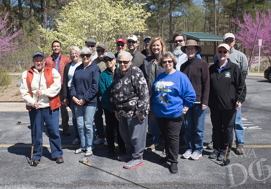 NWA Democrat-Gazette/CHARLIE KAIJO Instructor Sallyann Brown (center) poses for a photo with her students during a fly fishing class, Sunday, April 14, 2019 at Hobbs State Park in Rogers.<br /> <br /> Instructor Sallyann Brown, past recipient of the &ldquo;Woman of the Year&rdquo; and the &ldquo;Federation of Fly Fishers Educator of the Year&rdquo; awards from the Federation of Fly Fishers, Inc. taught a four hour fly fishing class.<br /> <br /> Participants learned four basic casts, the six basic types of flies (lures), how to cast and &ldquo;play&rdquo; the flies in the water, how to read water, how to wade, how to purchase and assemble equipment, how to store equipment and how to tie the four basic knots used by fly fishers.
