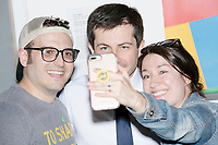 Democratic presidential candidate Pete Buttigieg greets people, takes selfies, and signs autographs, after speaking at a campaign event at the Currier Museum of Art in Manchester, New Hampshire, USA, on Fri., Apr. 5, 2019. The venue was filled to capacity about an hour before the candidate's arrival, so Buttigieg delivered an impromptu speech to those denied entry outside the museum before the official event. Buttigieg is the mayor of South Bend, Indiana, and was widely considered a long-shot candidate until his appearance in a CNN town hall in March 2019 which catapulted his campaign to prominence and substantial donations.