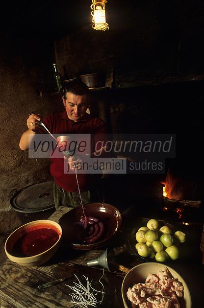 Europe/France/Limousin/23/Creuse/Cressat: Tuade du cochon à la ferme lors de la Saint-Cochon. Préparation du boudin creusois<br /> PHOTO D'ARCHIVES // ARCHIVAL IMAGES<br /> FRANCE 1990