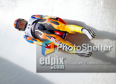 6 February 2009: Julia Clukey from the USA slides through a curve in the Women's Competition finishing in fifth place for the event with a combined time of 1:28.622 at the 41st FIL Luge World Championships, in Lake Placid, New York, USA. .  .Mandatory Photo Credit: Ed Wolfstein Photo