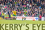 Stephen O'Brien Kerry in action against Christy Toye Donegal in Division One of the National Football League at Austin Stack Park Tralee on Sunday.