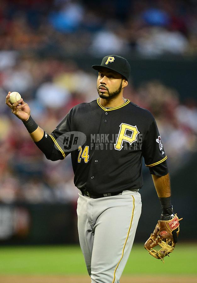 Apr. 17, 2012; Phoenix, AZ, USA; Pittsburgh Pirates infielder Pedro Alvarez during game against the Arizona Diamondbacks at Chase Field. Mandatory Credit: Mark J. Rebilas-