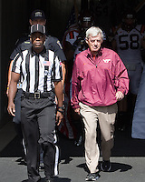 Virginia Tech head coach Frank Beamer leads his team onto the field. The Pitt Panthers defeated the Virginia Tech Hokies 35-17 at Heinz field in Pittsburgh, PA on September 15, 2012.