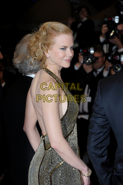 Nicole Kidman.'Hemingway & Gellhorn' screening at the 65th  Cannes Film Festival, France,.24th May 2012..half length gold beaded dress halterneck black  over shoulder back rear behind side .CAP/PL.©Phil Loftus/Capital Pictures.