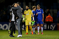 The two Caretaker Managers, Gillingham's Steve Lovell and Ryan Lowe of Bury embrace at the final whistle during Gillingham vs Bury, Sky Bet EFL League 1 Football at the MEMS Priestfield Stadium on 11th November 2017