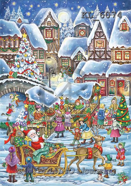 Interlitho, CHRISTMAS SANTA, SNOWMAN, WEIHNACHTSMÄNNER, SCHNEEMÄNNER, PAPÁ NOEL, MUÑECOS DE NIEVE, paintings+++++,market place,KL6074,#X# ,nostalgic