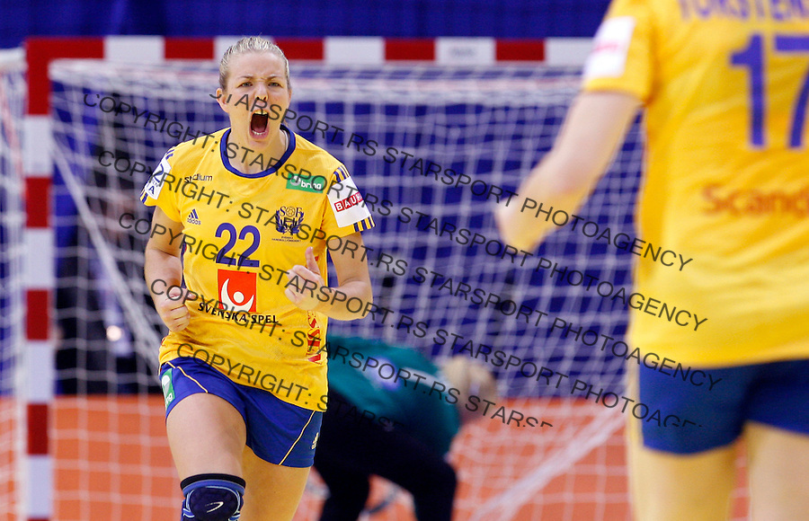 NIS, SERBIA 4/12/2012/ Jessica Helleberg (22) celebrate goal during Women`s European Handball Championship match between Sweden and Denmark in Cair arena in city of Nis in southern Serbia on  December 4, 2012 Credit: PEDJA MILOSAVLJEVIC/SIPA/