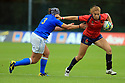 BELFAST, NORTHERN IRELAND - AUGUST 26: Spain's AMaia Erbina is  tackled by Italy's Lucia Gai during a final play off  in the Women's World Cup Rugby 2017 at Queen's  University Belfast, Saturday,  August 26, 2017. Photo/Paul McErlane