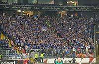 Fans von Racing Straßburg - 29.08.2019: Eintracht Frankfurt vs. Racing Straßburg, UEFA Europa League, Qualifikation, Commerzbank Arena<br /> DISCLAIMER: DFL regulations prohibit any use of photographs as image sequences and/or quasi-video.