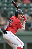 First baseman Triston Casas (38) of the Greenville Drive, the Boston Red Sox No. 2 prospect, playing as the Energia in MiLB's Copa de la Diversion, bats in a game against the Augusta GreenJackets at Fluor Field at the West End in Greenville, South Carolina. Augusta won, 9-8. (Tom Priddy/Four Seam Images)