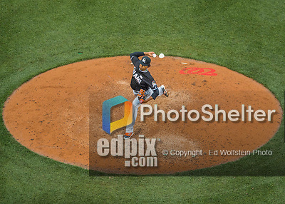 14 May 2016: Miami Marlins pitcher Jose Urena on the mound during the first game of a double-header against the Washington Nationals at Nationals Park in Washington, DC. The Nationals defeated the Marlins 6-4 in the afternoon matchup.  Mandatory Credit: Ed Wolfstein Photo *** RAW (NEF) Image File Available ***