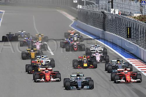 April 30th 2017, Sochi, Russia;  FIA Formula One World Championship 2017, Grand Prix of Russia, Race Start