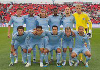 Sporting KC starting eleven during an MLS game between Sporting Kansas City and the Toronto FC at BMO Field in Toronto on June 4, 2011..The game ended in a 0-0 draw...