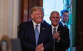United States President Donald J. Trump and US Vice President Mike Pence arrive at the Young Black Leadership Summit 2019 at the White House in Washington, D.C. on Friday October 4, 2019.    <br /> Credit: Tasos Katopodis / Pool via CNP