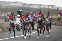 The Kenyan team lead the field during the IAAF World Half Marathon Championships 2016 in Cardiff, Wales on 26 March 2016. Photo by Mark  Hawkins / PRiME Media Images.
