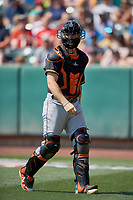 Jamie Ritchie (7) of the Fresno Grizzlies during a game against the Salt Lake Bees at Smith's Ballpark on September 3, 2018 in Salt Lake City, Utah. The Grizzlies defeated the Bees 7-6. (Stephen Smith/Four Seam Images)