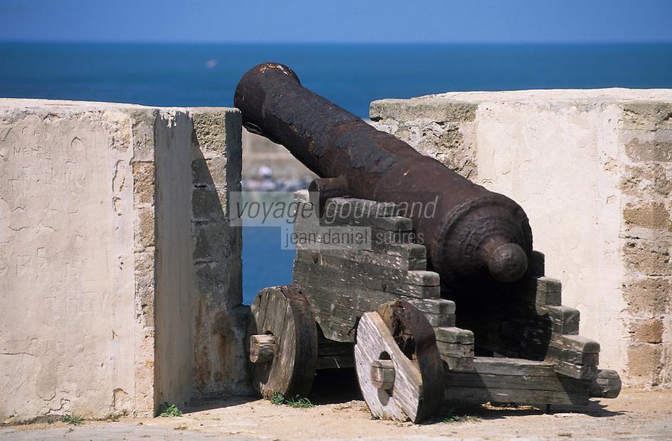Afrique/Maghreb/Maroc/El-Jadida : Canon sur les remparts de la Citadelle Portugaise