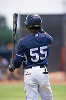 AZL Padres shortstop Jordy Barley (55) stands on deck during a game against the AZL Indians on August 28, 2017 at the San Diego Padres Spring Training Complex in Peoria, Arizona. AZL Padres defeated the AZL Indians 7-4. (Zachary Lucy/Four Seam Images)