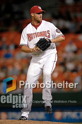 6 June 2007: Washington Nationals pitcher Jon Rauch in action against the Pittsburgh Pirates at RFK Stadium in Washington, DC. The Nationals defeated the Pirates 6-5 in the second game of their 3-game series...Mandatory Credit: Ed Wolfstein Photo