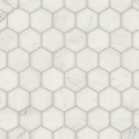 Hex, a waterjet stone mosaic, shown in polished Calacatta Radiance, is part of the Semplice™ collection for New Ravenna.