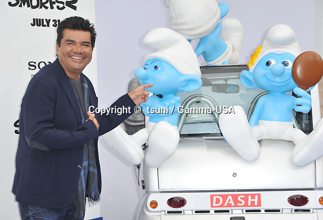 George Lopez  at the Smurfs 2 Premiere at the Westwood Village Theatre in Los Angeles.