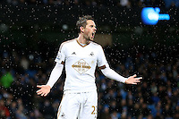 Gylfi Sigurdsson rues a missed chance during the Barclays Premier League Match between Manchester City and Swansea City played at the Etihad Stadium, Manchester on 12th December 2015