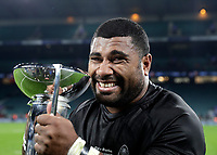 16th November 2019; Twickenham, London, England; International Rugby, Barbarians v Fiji; Mosese Ducivaki of Fiji posing with the Killik Cup after his team mates defeated the Barbarians 33-31 - Editorial Use
