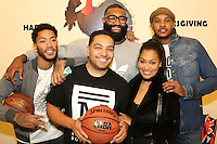 NEW YORK, NY - NOVEMBER 23, 2016 Derrick Rose, Cypha Sounds, Kyle O'Quinn, LaLa Anthony & Carmelo Anthony attend the Educational Alliance Boys & Girls Club Thanksgiving Event, November 23, 2016 in New York City. Photo Credit: Walik Goshorn / Mediapunch