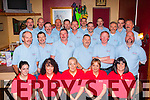 Charity<br /> --------<br /> In Hughes bar,Cordal last Saturday night,the Noisy Neighbours group (all in Blue shirts)gathered to have their November grown Mustaches shaved off all in aid of the Kerry to Cork health bus,pictured with the organisers of the night in red.