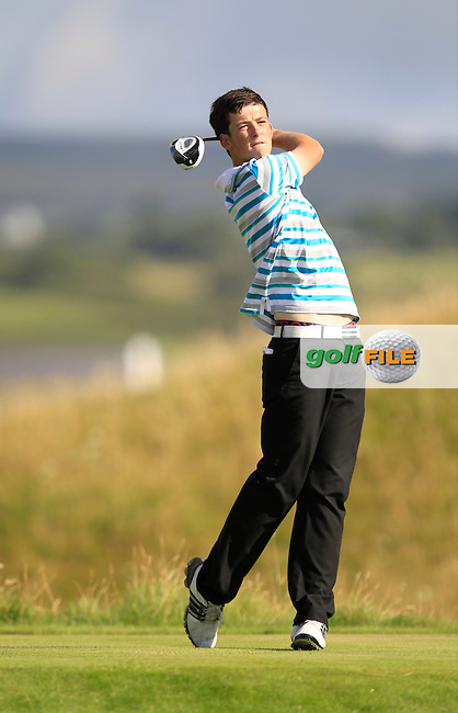 Ryan McKinstry (Cairndhu) on the 14th tee during the South of Ireland Amateur Open Championship Second Round at Lehinch Golf Club  28th July 2013 <br /> Picture:  Thos Caffrey / www.golffile.ie