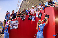Bridgeview, IL - Sunday September 03, 2017: Sofia Huerta, Julie Ertz, Fans during a regular season National Women's Soccer League (NWSL) match between the Chicago Red Stars and the North Carolina Courage at Toyota Park. The Red Stars won 2-1.