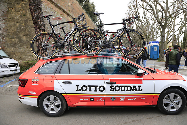 Lotto-Soudal team car before the start of the 2017 Strade Bianche running 175km from Siena to Siena, Tuscany, Italy 4th March 2017.<br /> Picture: Eoin Clarke | Newsfile<br /> <br /> <br /> All photos usage must carry mandatory copyright credit (&copy; Newsfile | Eoin Clarke)