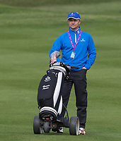 former Chelsea & Wimbledon player Dennis Wise caddies for footballer turned actor Vinnie Jones during the GOLFSIXES ProAm  at Centurion Club, St Albans, England on 5 May 2017. Photo by Andy Rowland.
