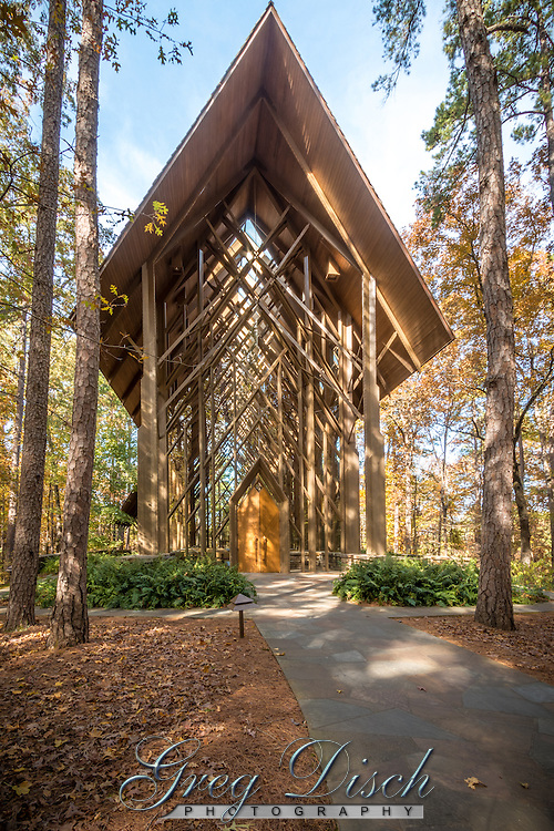 Anthony Chapel with its floor-to-ceiling glass walls presenting picturesque views of the surrounding woodlands The simple, yet stately, six-story tall structure is considered one of the most beautiful wedding venues in the state of Arkansas.  Anthony Chapel is located at Garvan Woodland Gardens in Hot Springs Arkansas.