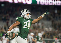 NWA Democrat-Gazette/BEN GOFF @NWABENGOFF<br /> Izzy Matthews, Colorado State running back, celebrates after scoring a touchdown in the 4th quarter vs Arkansas Saturday, Sept. 8, 2018, at Canvas Stadium in Fort Collins, Colo.