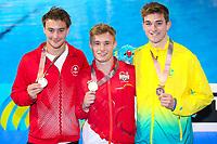 Picture by Alex Whitehead/SWpix.com - 12/04/2018 - Commonwealth Games - Diving - Optus Aquatics Centre, Gold Coast, Australia - Men's 3m Springboard Final, Gold - England's Jack Laugher, Silver - Canada's Philippe Gagne, Bronze - Australia's James Connor.