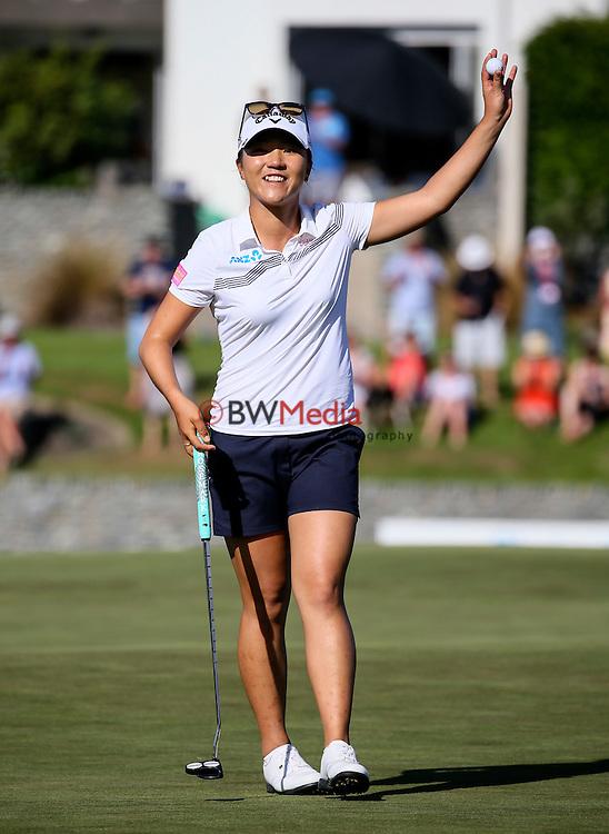 Lydia Ko celebrates winning the ISPS Handa NZ Women's. Clearwater Golf Course, Christchurch, New Zealand, Sunday 13 February 2016. Photo: Simon Watts / BWmedia for NZ Golf<br /> All images &copy; NZ Golf and BWMedia.co.nz